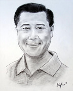 Chinese American Drawings - California State Senator Leland Yee by Jim Fitzpatrick