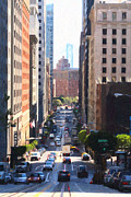 Highrise Building Prints - California Street in San Francisco Looking Down Towards The Bay Bridge 2 Print by Wingsdomain Art and Photography
