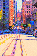 Bay Bridge Digital Art Prints - California Street in San Francisco Looking Down Towards The Bay Print by Wingsdomain Art and Photography