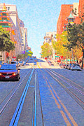 Bay Bridge Digital Art Prints - California Street in San Francisco Looking Up Towards Chinatown 2 Print by Wingsdomain Art and Photography