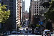 Bay Bridge Prints - California Street in San Francisco Print by Wingsdomain Art and Photography