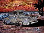 Ford Truck Drawings - California Sunrise by Beau Van Sickle