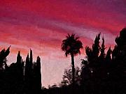 Palm Tree Greeting Cards - California Sunset Painting 1 by Teresa Mucha