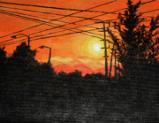 Powerlines Paintings - California sunset by Ra A
