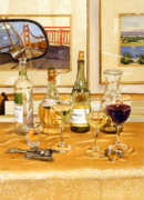 Red Wine Bottle Painting Posters - California Wine and Watercolors Poster by Mary Helmreich