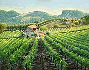 Grapevines Paintings - Calistoga Homestead in Vineyard by E Williams