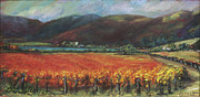 Wine Paintings - Calistoga Vineyard in Napa Valley by Deirdre Shibano by Deirdre Shibano