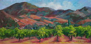 Calistoga Painting Posters - Calistoga Vineyards  Poster by Deirdre Shibano