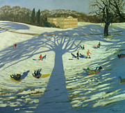 Manor Painting Posters - Calke Abbey House Poster by Andrew Macara