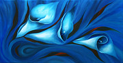 Blue Flowers Paintings - Calla in Moods by Uma Devi