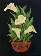Yellow Ceramics Prints - Calla lilies Print by Jane Landry  Read