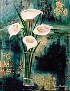 Abstract Realism Paintings - Calla Lilies by Terry Honstead