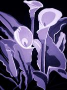 Angelina Vick Mixed Media Posters - Calla Lillies Lavender Poster by Angelina Vick