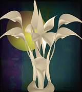 Lacy Fractal Prints - Calla Lily Abstract -v2 Print by Anne Lacy