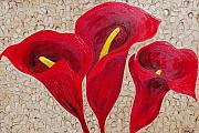 Textured Floral Painting Framed Prints - Calla Lily Majestic Red Framed Print by Darlene Keeffe