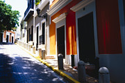 Cobble Stone Framed Prints - Calle Del Sol Old San Juan Puerto Rico Framed Print by George Oze