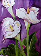 Suzanne Willis Metal Prints - Callie Lilies in Purple Metal Print by Suzanne Willis