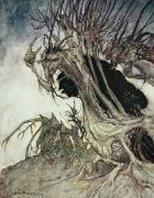Horror Drawings Posters - Calling shapes and beckoning shadows dire Poster by Arthur Rackham