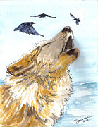 Wolf Howling Paintings - Calling the Ravens by Sonara Ettles