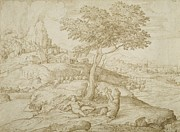 Landscape Drawings Framed Prints - Callistos transformation into a bear after giving birth to Arcas Framed Print by Domenico Campagnola