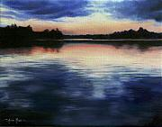 Water Reflections Painting Framed Prints - Calm Before Dark Framed Print by Anna Bain