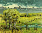 Teton Paintings - Calm before the Storm by Steve Spencer