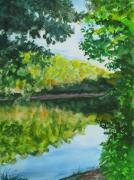 Trees Reflecting In Water Painting Posters - Calm Evening Lake View Poster by Wes Loper
