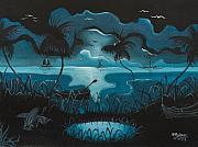 Haitian Painting Framed Prints - Calm Moonlit Sea Framed Print by Herold Alvares