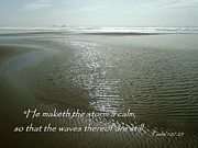 Psalm 107 Posters - Calm Sea Psalm 107 Poster by Cindy Wright