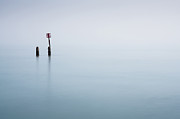 Wooden Post Framed Prints - Calm Sea With Post Framed Print by Jeremy Vickers Photography