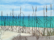 Sand Dunes Paintings - Calming Sea Oats by Karen Devonne Douglas