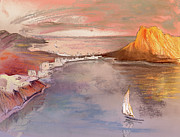 Beach Drawings Prints - Calpe at Sunset Print by Miki De Goodaboom