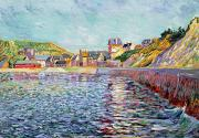 Town Docks Framed Prints - Calvados Framed Print by Paul Signac