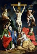 Crucifix Framed Prints - Calvary Framed Print by Abraham Janssens van Nuyssen