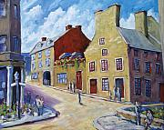 Moonlight Paintings - Calvet House Old Montreal by Richard T Pranke