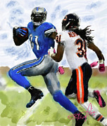 Football Paintings - Calvin Johnson by Donald Pavlica
