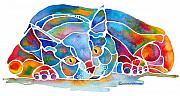 Vivid Color Posters - Calypso Cat Poster by Jo Lynch