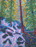 Waterfall Pastels Originals - Calypso Falls by Robert  SORENSEN