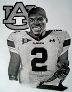 Ncaa Drawings Prints - Cam Newton Drawing Print by Keeyonardo