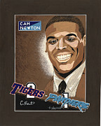 Football Paintings - Cam Newton Portrait by Herb Strobino