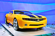 Detroit Photos - Camaro Bumble Bee 0993 by Michael Peychich