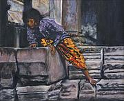 Temple Pastels - Cambodia Girl by Leonor Thornton