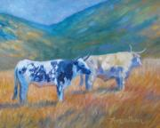 Longhorn Paintings - Cambria Cattle by Theresa Paden