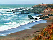 Cambria Paintings - Cambria Shoreline in the Fall by Elaine Plesser