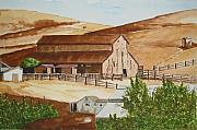 Cambria Paintings - Cambrian Barn by Gerald Carpenter