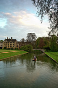 Stratford Prints - Cambridge Clare College Stream Boat and Boys Print by Douglas Barnett