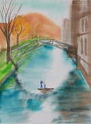 Cambridge Painting Prints - Cambridge River View Print by Leo Boucher