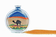 Camel Photos - Camel drawni with sand inside a bottle by Sami Sarkis