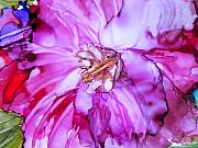 Alcohol Ink Posters - Camelia One Poster by Tommy Buell McDonell