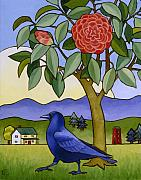 Stacey Neumiller Posters - Camellia and Crow Poster by Stacey Neumiller